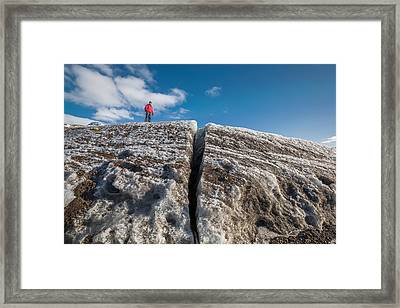 Exploring Svinafellsjokull Glacier Framed Print