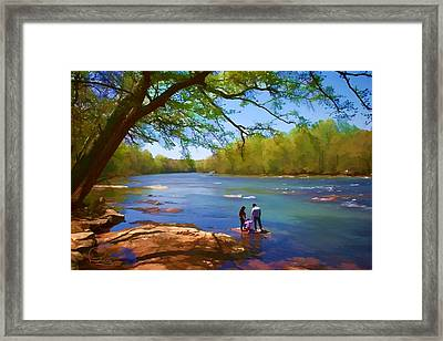 Exploring The River Framed Print by Ludwig Keck
