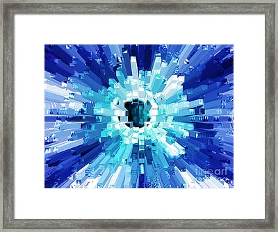 Explosion Abstract Blue Turquoise Framed Print