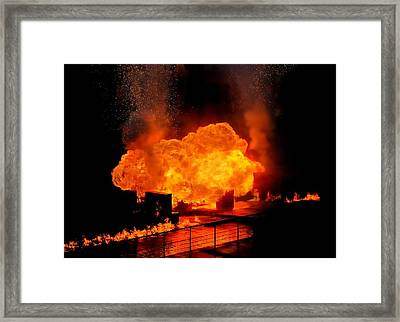 Explosion And Fire Framed Print by Jim Hughes