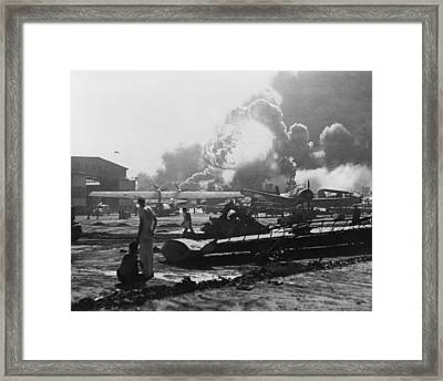 Explosion At Pearl Harbor Seen Framed Print by Everett
