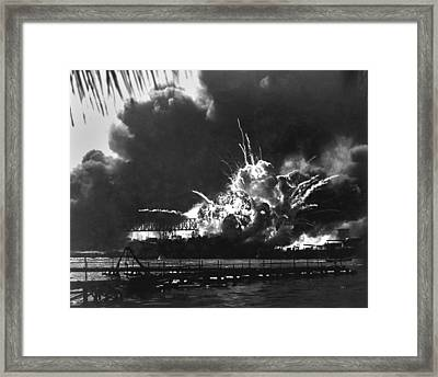 Explosion Of The Uss Shaws Forward Framed Print by Everett