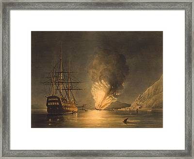 Explosion Of The Uss Steam Frigate Missouri Framed Print by War Is Hell Store