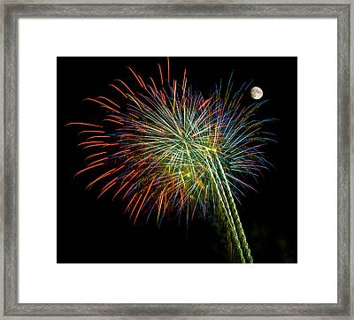 Explosions Of Color - Fireworks And Moon Framed Print