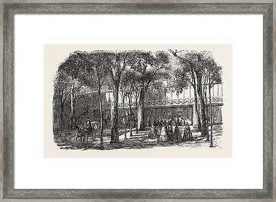 Expo 1855. Walkway Of The Rotunda Annex Framed Print by French School