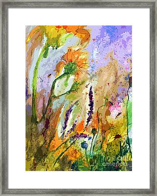 Expressive Sunflowers Lavender And Bees Framed Print