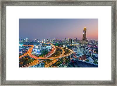 Expressway In Bangkok Framed Print by Chalermkiat Seedokmai