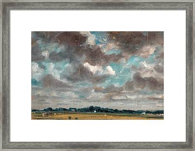 Extensive Landscape With Grey Clouds Study Of Clouds Framed Print by Litz Collection