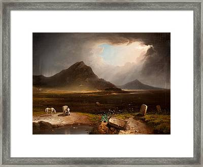 Extensive Landscape With Stonemason Framed Print by Daniel M. Mackenzie