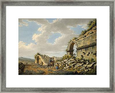 Exterior Of The Ruined Roman Theatre Framed Print by Gaetano Mercati