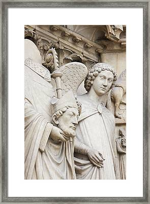 Exterior Statue Detail, Notre Dame Framed Print by William Sutton