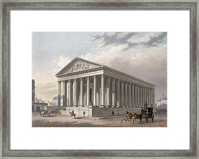 Exterior View Of The Madeleine, Paris Colour Litho Framed Print by Philippe Benoist