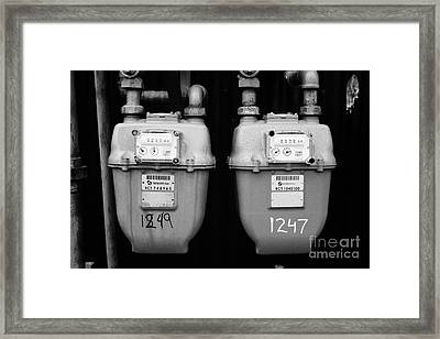 external gas meters on property Vancouver BC Canada Framed Print by Joe Fox
