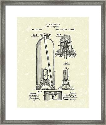 Extinguisher 1880 Patent Art Framed Print by Prior Art Design