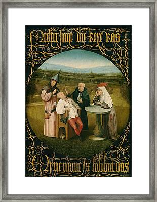 Extracting The Stone Of Madness Framed Print by Hieronymus Bosch