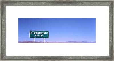 Extraterrestrial Highway Sign, Area 51 Framed Print
