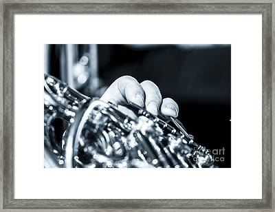 Extreme Close Up Of Fingering Of French Horn Framed Print