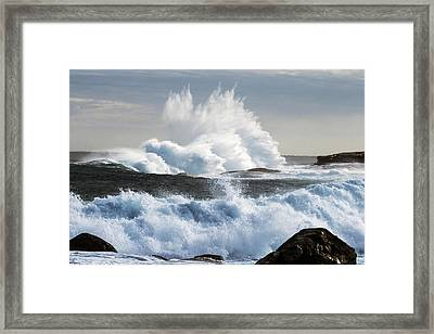 Extreme Weather With Waves Crashing On Framed Print by John White Photos