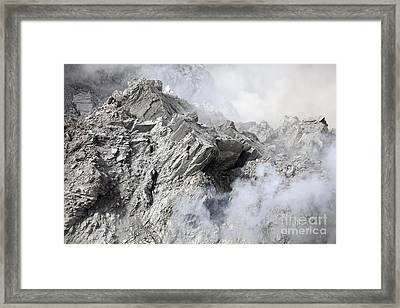 Extrusion Lobe On Rerombola Lava Dome Framed Print by Richard Roscoe