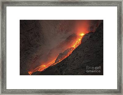 Extrusion Of Lava On Glowing Rockfalls Framed Print by Richard Roscoe