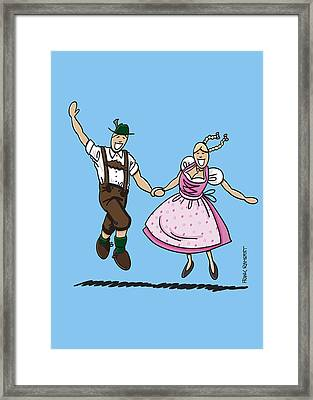 Exuberant Oktoberfest Couple Dancing Framed Print