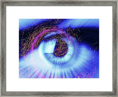 Eye And Colourful Particles Framed Print