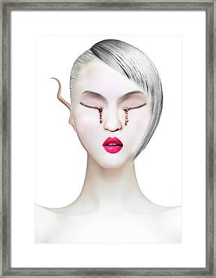 Eye And Zipper Framed Print by Yosi Cupano
