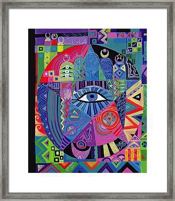 Eye Of Destiny, 1992 Acrylic On Canvas Framed Print by Laila Shawa
