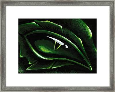 Eye Of The Emerald Green Dragon Framed Print by Elaina  Wagner