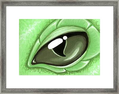 Eye Of The Mint Green Dragon Hatchling Framed Print by Elaina  Wagner