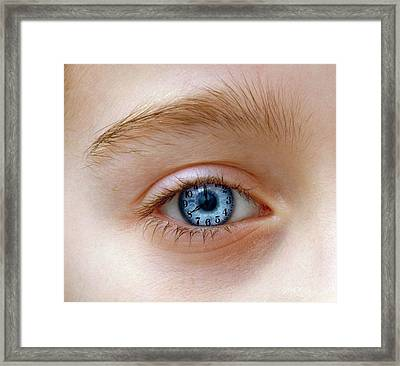 Eye With Clock Framed Print by Victor De Schwanberg