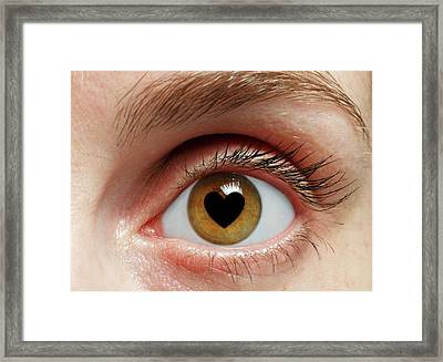 Eye With Heart Framed Print by Victor De Schwanberg