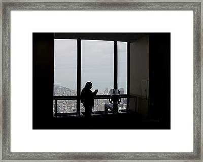 Eyes Down From The 103rd Floor Texting From The Top Of The World Framed Print by Thomas Woolworth