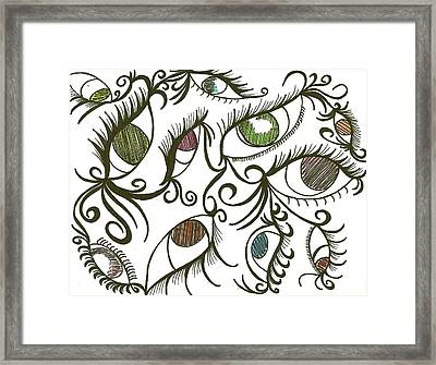 Eyes Galore Framed Print by Angie Oviedo