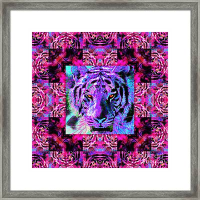 Eyes Of The Bengal Tiger Abstract Window 20130205p0 Framed Print by Wingsdomain Art and Photography