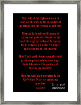 Ezekial 25 17-old English Black And Red Framed Print by Roz Abellera Art
