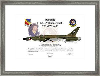 Framed Print featuring the digital art F-105g Thunderchief Wild Weasel by Arthur Eggers