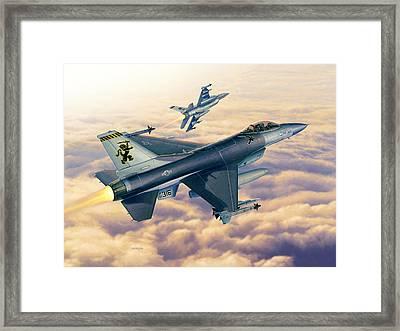F-16c Sunset Falcons Framed Print by Stu Shepherd