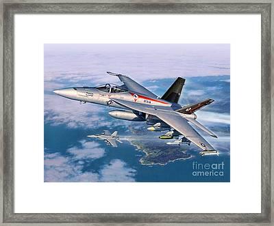 F-18e Super Hornet Framed Print by Stu Shepherd