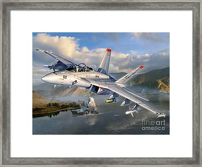 F-18f Stopping Maritime Terror Framed Print by Stu Shepherd