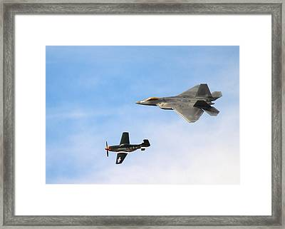 F-22 And P-51 Heritage Flight Framed Print by Saya Studios