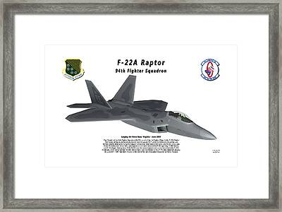 F-22a Raptor 94th Fighter Squadron In Flight Framed Print by Bob Tyler