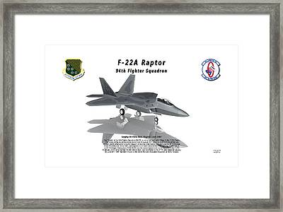F-22a Raptor 94th Fighter Squadron With Reflection Framed Print by Bob Tyler