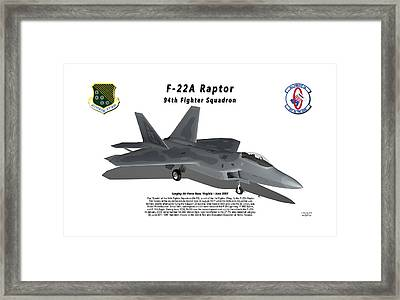 F-22a Raptor 94th Fighter Squadron With Shadow Framed Print by Bob Tyler