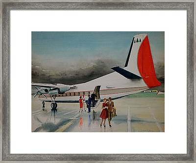 F-27 At Columbus Ohio Framed Print by Frank Hunter
