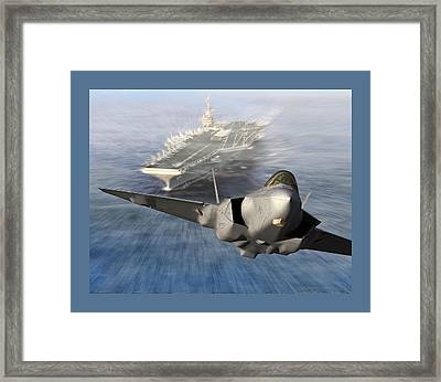 F-35 Catapult Launch From Us Super Carrier Framed Print by L Brown
