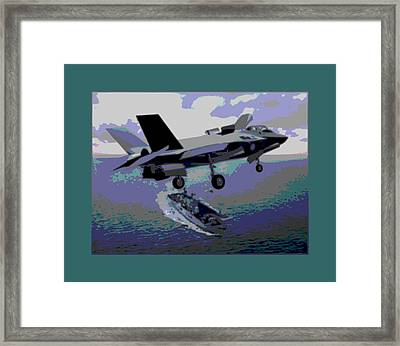 F-35 Strike Fighter On Final Approach To The Us Marine Corps Assault Carrier Enhanced Framed Print by L Brown