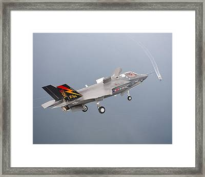 F 35 Final Approach Us Assault Carrier Framed Print by US Military - L Brown