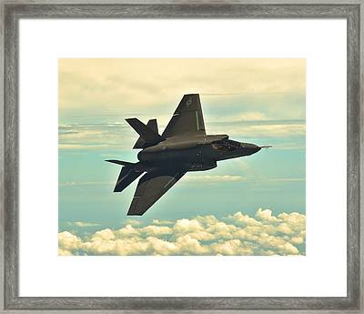 F 35 Joint Strike Fighter Lightening II Banking Enhanced Framed Print by US Military - L Brown