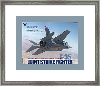 F 35 Joint Strike Fighter Larger Border Framed Print by L Brown